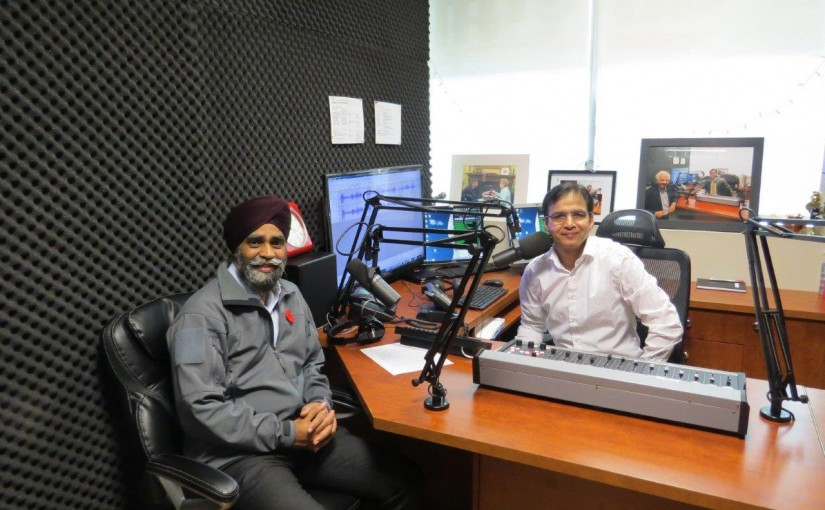 Minister of National Defence of Canada Harjit Sajjan with Rajinder Saini